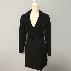 New York & Co. Black Trench Coat - Asymmetric